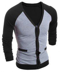 Tournez-Down Collar Cardigan Color Block épissage single-breasted manches longues hommes - Noir