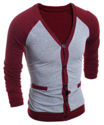 V-Neck Color Block Splicing Single-Breasted Long Sleeve Men's Cardigan - RED