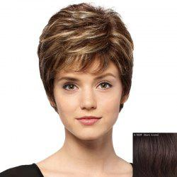 Spiffy Short Capless Trendy Side Bang Fluffy Curly Human Hair Wig For Women -