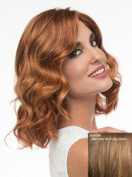 Charming Medium Side Parting Fashion Fluffy Wavy Capless Human Hair Wig For Women - BROWN WITH BLONDE