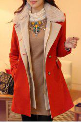 Ladylike Turn-Down Collar Spliced Long Sleeve Coat For Women