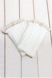 Pair of Chic Lace Embellished Herringbone Knitted Boot Cuffs For Women - WHITE
