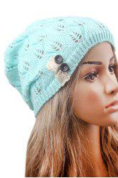 Button Hollow Out Toboggan Hat -