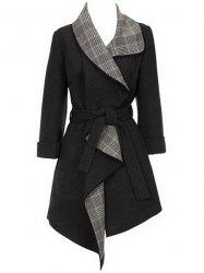 Elegant Plaid Spliced Turn-Down Collar Belt Self-Tie Wool Coat For Women