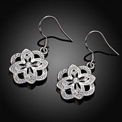 Silver Plated Floral Shape Zircon Design Drop Earrings -