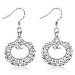 Pair of Silvered Plated Round Shape Hollow Out Drop Earrings -