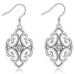 Trendy Geometric Shape Rhinestone Silver Plated Drop Earrings for Ladies -