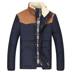 Flocking Stand Collar Splicing Design Long Sleeve Thicken Men's Cotton-Padded Jacket - CADETBLUE