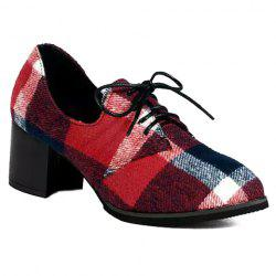 British Style Checked and Color Block Design Women's Pumps