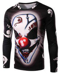 Round Neck 3D Demon Clown Print Long Sleeve Men's T-Shirt