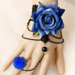 Hollow Out Lace Flower Bracelet With Ring -
