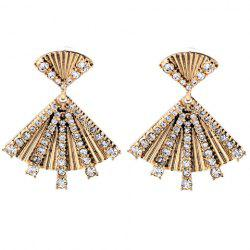 Pair of Vintage Rhinestoned Fan Shape Earrings For Women