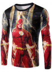 Round Neck 3D The Flash Print Long Sleeve Men's T-Shirt - RED