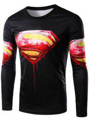 Round Neck 3D Logo Blood Superman Character T-Shirt -