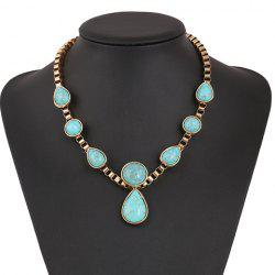 Ethnic Teardrop Faux Turquoise Necklace
