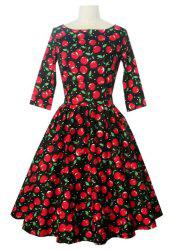Vintage Slash Neck 3/4 Sleeve Cherry Print Women's Dress