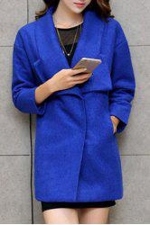 Elegant Turn-Down Collar Loose-Fitting Worsted Coat For Women -