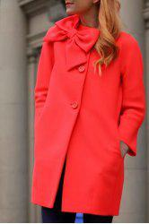 Sweet 3D Bowknot Embellished Red Long Sleeve Coat For Women -