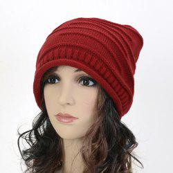 Stripy and Edge Curl Knitted Acrylic Beanie Hat - RED
