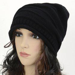 Stripy and Edge Curl Knitted Acrylic Beanie Hat -
