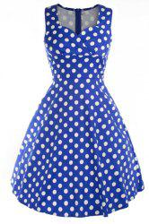 Retro Style Sweetheart Neck Sleeveless Polka Dot Women's Dress -