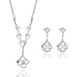 A Suit of Alloy Rhinestoned Hollow Out Necklace and Earrings