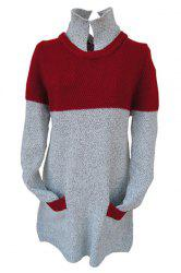 Stylish Turtleneck Long Sleeve Red and Gray Spliced Buttoned Women's Sweater