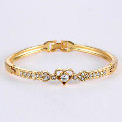 Rhinestone Heart Gold Plated Bracelet
