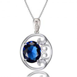 Noble Colored Faux Crystal Hollow Out Oval Necklace For Women
