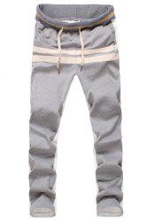 Lace-Up Color Block Spliced Selvedge Embellished Straight Leg Men's Pants -