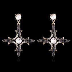 Pair of Graceful Faux Gemstone Rhinestone Hollow Out  Earrings For Women -