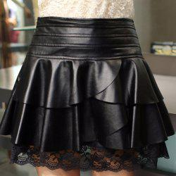 Retro Style Black Ruffles Lace Spliced PU Leather Skirt For Women