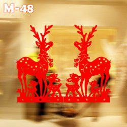 M-48 Sika Deer Style Removable Wall Stickers for Christmas Ornament New Year Party - RED