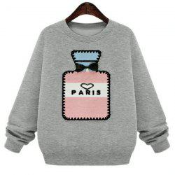 Preppy Style Jewel Neck Bottle Patten Long Sleeve Sweatshirt For Women -