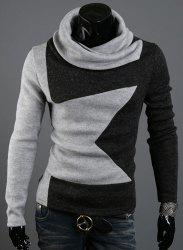 Five-Pointed Star Pattern Color Block Slimming Heaps Collar Long Sleeves Men's Thicken Sweater - GRAY