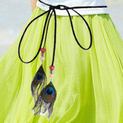 Chic Peacock Feather Pendant Embellished Skinny Belt For Women -