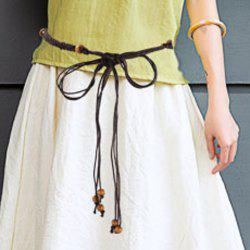 Chic Bead Embellished Weaving Skinny Belt For Women