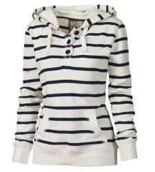 Casual Style Hooded Long Sleeve Striped Pocket Design Women's Pullover Hoodie -