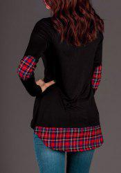 Stylish Scoop Neck Long Sleeve Gingham Spliced Asymmetrical Women's T-Shirt -