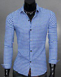 Simple Shirt Collar Color Block Plaid Print Long Sleeves Men's Slimming Shirt - AZURE