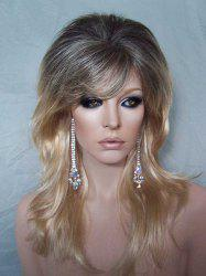 Fashion Fluffy Long Wavy Stunning Black Blonde Ombre Side Bang Synthetic Cosplay Wig For Women -