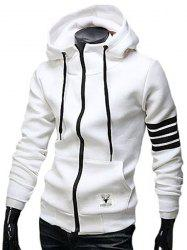 Casual Drawstring Hooded Stripes Spliced Front Pocket Long Sleeves Men's Slimming Hoodie