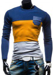 Round Neck Color Block Splicing Pocket Embellished Long Sleeve Men's T-Shirt