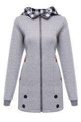 Stylish Hooded Long Sleeve Gingham Button Design Women's Hoodie