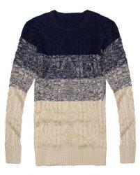 Cool Ombre Design Round Neck Hemp Flowers Intarsia Slimming Men's Long Sleeves Sweater -