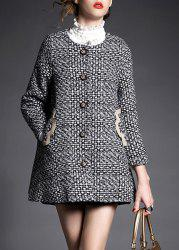 Stylish Round Neck Long Sleeve Spliced Pocket Design Women's Coat