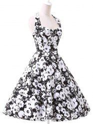 Vintage Halter Floral Printed Backless Ball Gown Midi Dress For Women - WHITE AND BLACK S