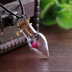 Dry Flower Cone Shape Bottle Necklace - RANDOM COLOR