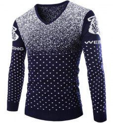 Cartoon Tiger Snowflake Jacquard Color Block Slimming V-Neck Long Sleeves Men's Sweater -