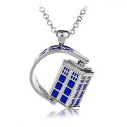 Police Box Rotatable Pendant Necklace - SILVER